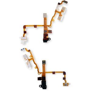 Flat Cable for Apple iPhone 3G, iPhone 3GS Cell Phones, (start button, sound button, headphone connector, black)