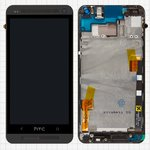 LCD for HTC One M7 801e Cell Phone, (black, with touchscreen, with front panel, Original (PRC))